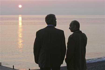Bush and Putin in Sochi 2008