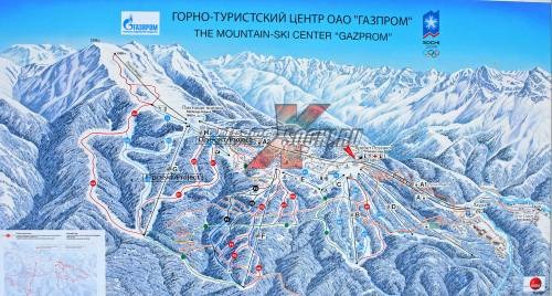 Ski map of Gazprom resort in Krasnaya Polyana, Sochi