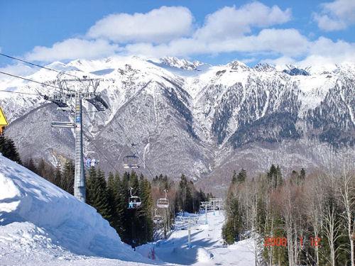 Psekhako Ridge. Gazprom ski resort in Krasnaya Polyana, Sochi, Russia.