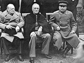 Churchill, Stalin, and Roosevelt in Yalta